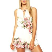 2014 New Women S Sweet Floral Print O Neck Floral Print Ruffles Sleeveless Short Playsuit Jumpsuit