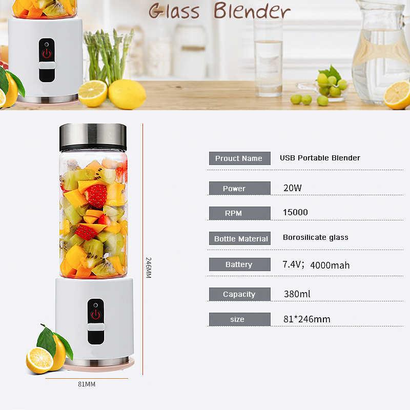 Liquidificador BPA LIVRE USB Portátil Recarregável 4000 mAh Bateria Espremedor Liquidificador Smoothie de Pessoal 380 ml De Vidro Copo de Viagem Misturador de Frutas