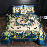 A side Jacquard +B side 100% Cotton Luxury Digital printing Bedding Sets Bed Sheet Queen King size 6pcs Duvet Cover Sets