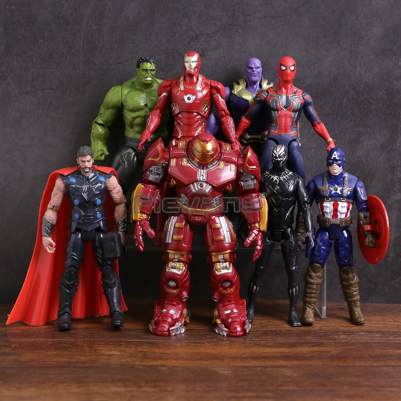 цена Avengers 3 Infinity War Hulk Black Panther Thor Captain America Spiderman Thanos Iron Man Hulkbuster PVC Figures Toys