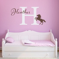 Running Stopped Horse Silhoue With Custom Name Beautiful Wall Decal Home Nursery Bedroom Art Cute Decorative