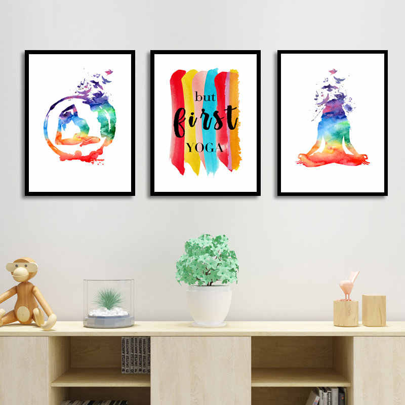 Sport Yoga Wall Art Poster Watercolor Abstract Prints Canvas Yoga Quote Wall Art Decor Pictures HD2660