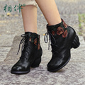 Autumn leather high heels women boots 2016 black chinese hand embossed painted lace up women boots round toe rough with