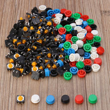 купить New 100pcs Plastic Tactile Switch PCB Tact Push Button Momentary Switch 4 Pins + 5 Color Button Cap 12 x 12 x 7.3mm дешево