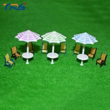 20pcs 1:75 scale model furniture outdoor sunshade&chair set for architecture sand table layout