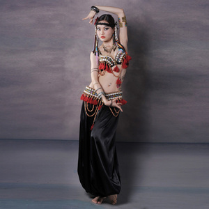 Image 2 - Vermelho tribal fusão trajes de dança do ventre conjunto de 3 peças sutiã, cinto e haren calças gypsy traje calças de dança do ventre trajes