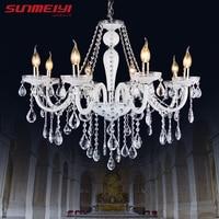 Modern Luster Crystal Chandeliers Lighting Wedding Decorations LED White Pendant Lamp For Foyer Dining Room Restaurant