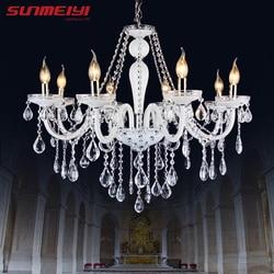 Moderne Glanz Kristall Kronleuchter Beleuchtung Hochzeit Dekorationen LED  Weiß Anhänger Lampe Für Foyer Esszimmer Restaurant