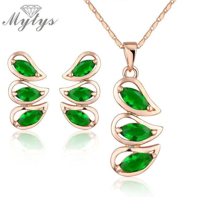Mytys New Fashion Women Necklace Earrings Sets Green Crystal Jewelry Set  N953 b150264f8b21