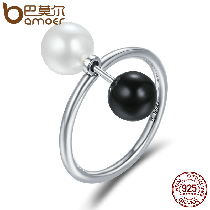 BAMOER 100% 925 Sterling Silver Double Sides Ball Finger Ring Punk Style Female Rings for Women Sterling Silver Jewelry SCR225 punk style solid color hollow out ring for women