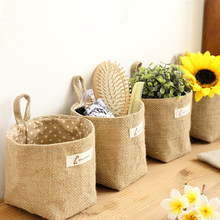 New Living Room Storage Sack Cloth bags Hanging Grocery Cloth Flowerpot Housing Basket(China)