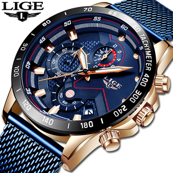 цены LIGE Mens Watches Top Brand Gift Luxury Waterproof Fashion Watch Quartz Watch Men Sport Chronograph reloj hombre dropshipping