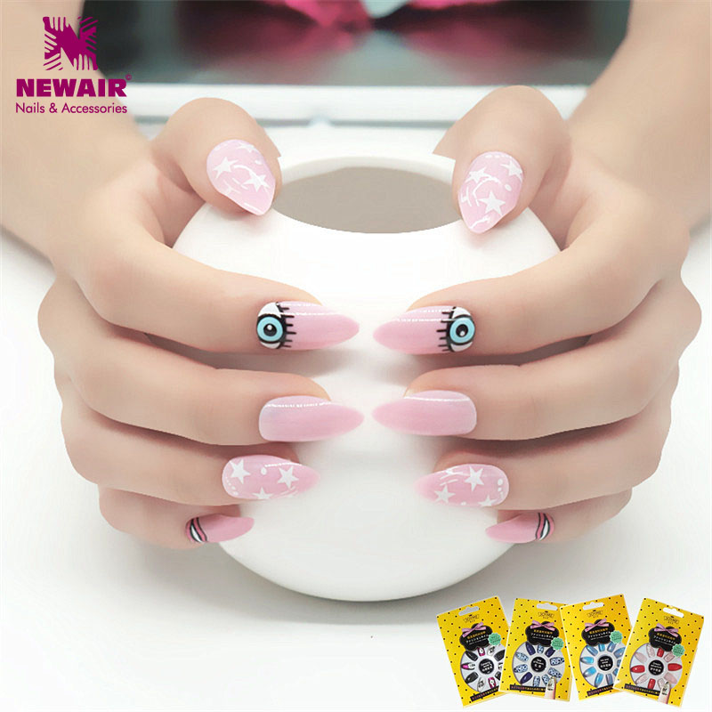 Long Pink Stiletto False Nails Full Cover Evil Eye Fake Nail Tips ...