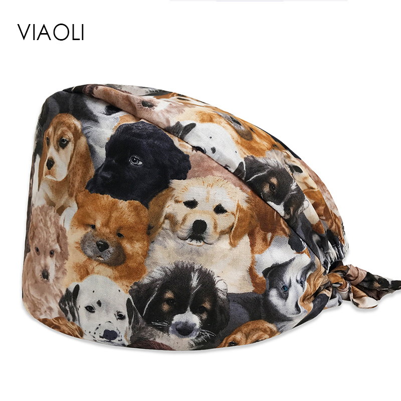 Dog Print In Black Tieback Elastic Section 100% Cotton Surgical Caps Scrub Caps For Men Women Hospital Medical Hats New Arrival