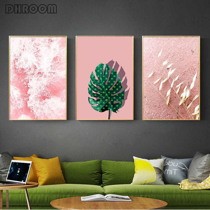 Abstract Pink Ocean Nordic Poster Modern Plant Leaf Wall Art Canvas Painting Pink Print Wall Pictures for Living Room Home Decor