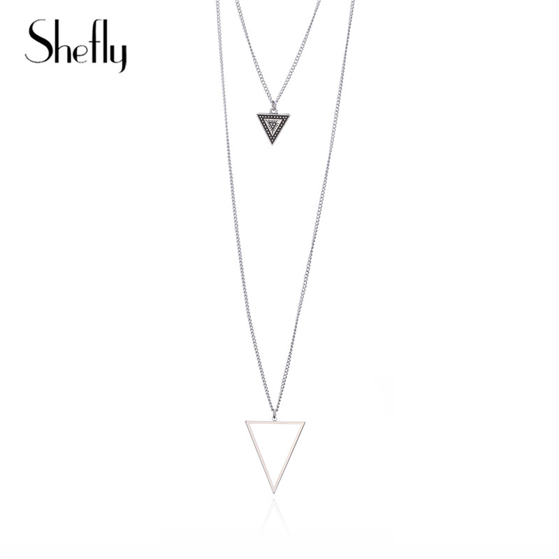 Statement Ethnic Triangle Geometric Pendants Necklace Multi-layer Silver Colour Trendy Necklace Jewelry For Women Gifts Kolye