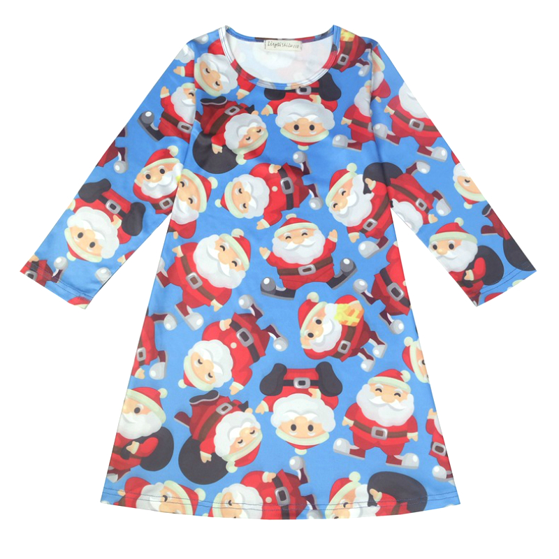 Girls Christmas Dress New Year Christmas Party Costume Children Dresses Print Santa Claus Dress Snow Man Baby Christmas Clothes