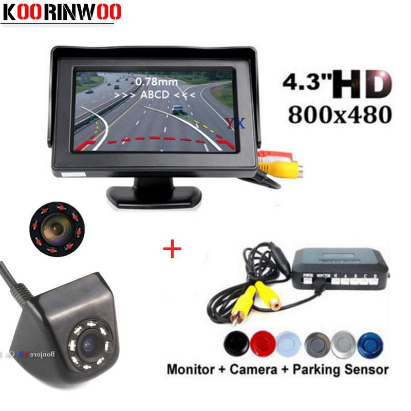 Koorinwoo Parktronic Car Parking Sensors 4 Probes Parkmaster Trajectory Parking Camera Rear view Cam Car Monitor Car-detector цена