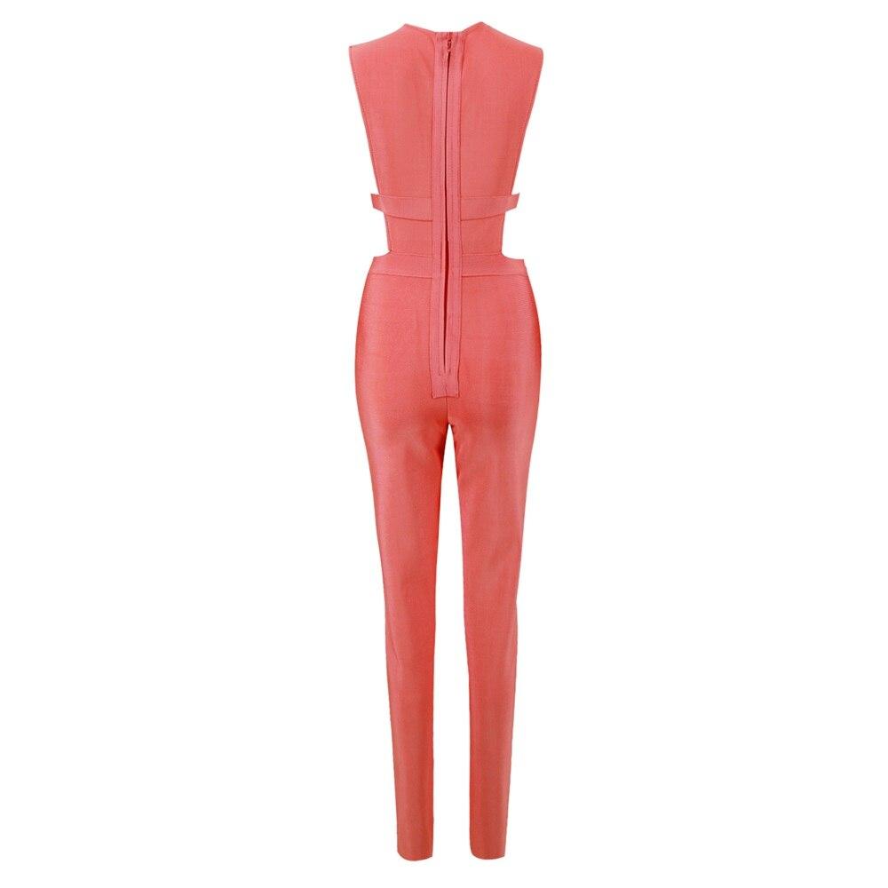 Club D'été En Red Orange Barboteuses Nouveau Femmes Celebrity Profond Salopette V 2018 Combinaisons Rose Col Sexy Bandage Moulante Manches TwFqx7UZq