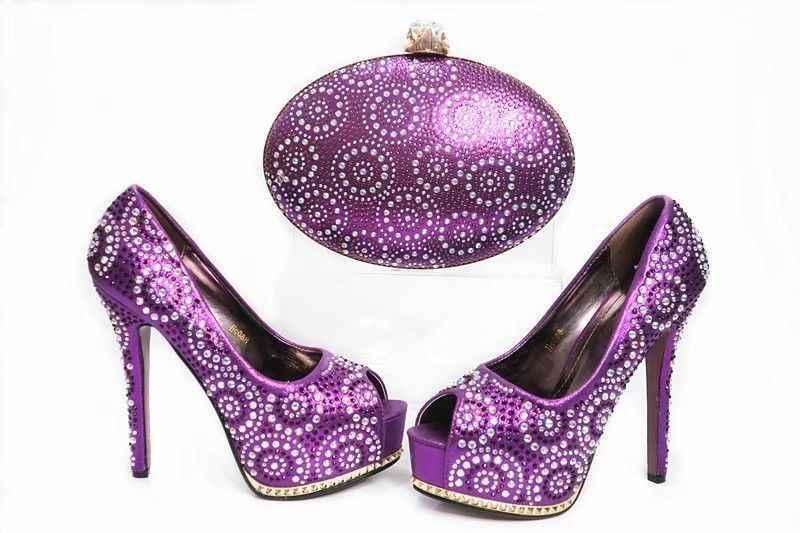 Wspaniałe damskie czółenka fuksja z dekoracje cyrkonią afrykańskie buty dopasuj zestaw torebek do sukni X19, pięta 12CM