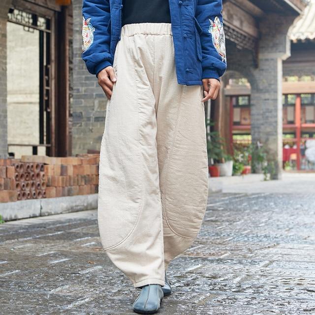Johnature 2019 Winter Vintage Original Loose Cotton Linen Elastic Mid Waist Pants New Solid Color Thicken Warm Women Pants
