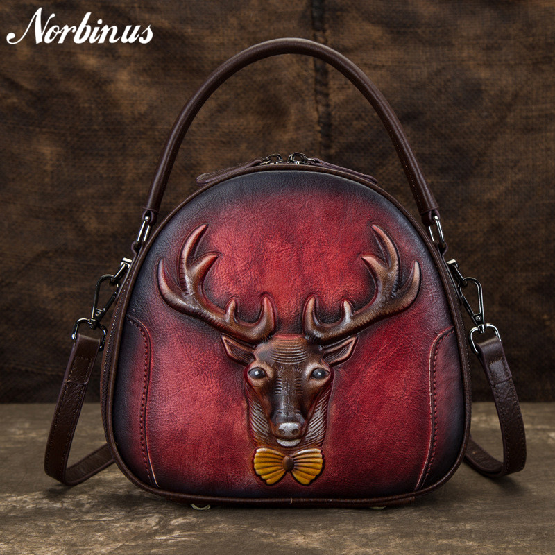 Norbinus Vintage Crossbody Bags for Women Genuine Leather Messenger Bag Animal Print Tote Shoulder Handbag Female Top Handle BagNorbinus Vintage Crossbody Bags for Women Genuine Leather Messenger Bag Animal Print Tote Shoulder Handbag Female Top Handle Bag
