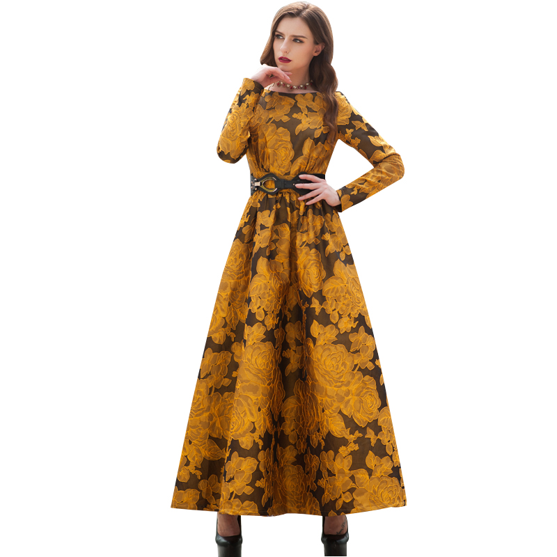 US $47.99 40% OFF|Newest Fall 2018 Designer Maxi Dress Party Dress Women  Long Sleeve Gorgeous Floral Jacquard Long Dress plus size S 3XL-in Dresses  ...