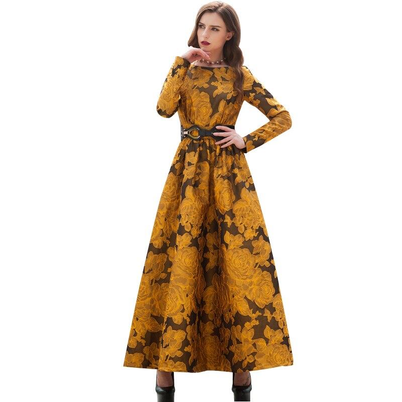 Più nuovo Autunno 2018 Del Progettista Maxi Vestito Da Partito Delle Donne del Vestito Manica Lunga Splendido Floreale Jacquard Vestito Lungo più il formato S-3XL