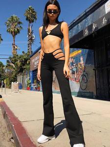 Macheda Women Black Sweat Pants Flare Trousers Capris