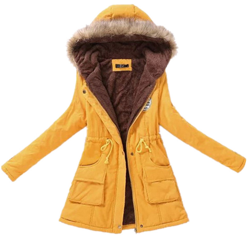 2019 winter ladies casual hooded plus velvet thick warm fur collar cotton-padded jacke coat / Women's   parkas   wool wadded jacket