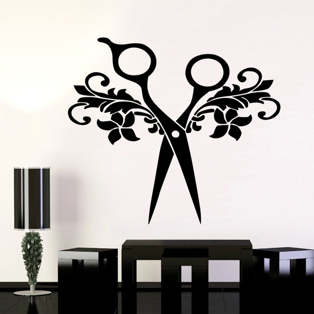 Barber Shop Sticker Name Scissors Hair Salon Decal Neutral Haircut Poster Vinyl  Wall Art Decals Decor