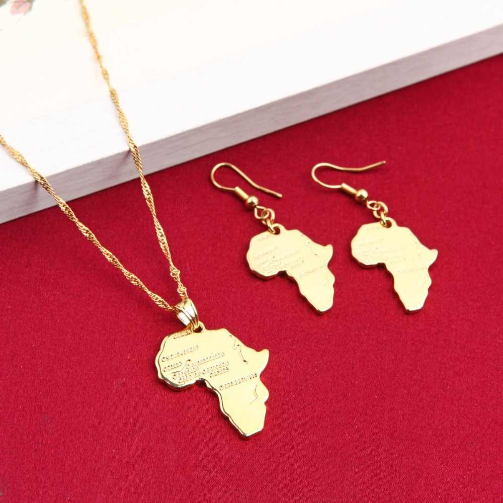 Ethiopian Africa Map Jewelry Sets Gold Color Jewelry Sets Statement Necklace Earrings Pendant For African Wedding