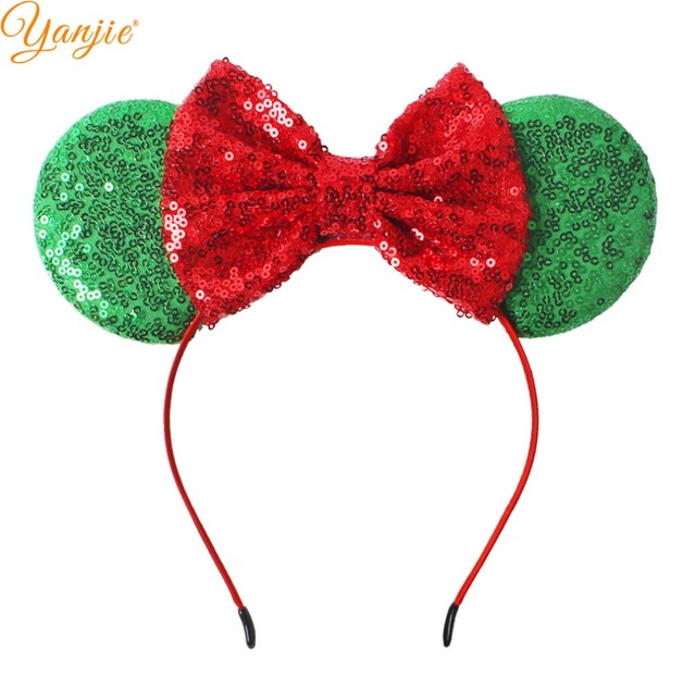 Christmas Minnie Ears 2019.Us 21 58 19 Off 12pcs Lot Christmas Minnie Headbands For Girls 2019 Christmas Sequin Bow Headband Kids Glitter Minnie Ears Hair Accessories In Hair