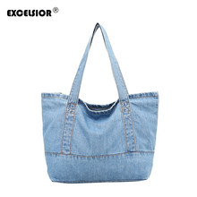 9ab7901ac062 EXCELSIOR Fashionable Women Bags Denim Fashion Shoulder Bag Japanese Jean  Canvas Bag Leisure Small Handbag bolsa