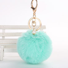 wholesale Cute Pom pom plush keychains small pendant plush toys Women Bag Key Ring creative Valentine's day birthday gifts(China)