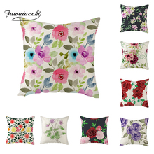 Fuwatacchi Linen Floral Fresh Roses Flowers Cushion Cover Pink Red Throw Pillow Green Leaves Square 45X45 Pillowcase