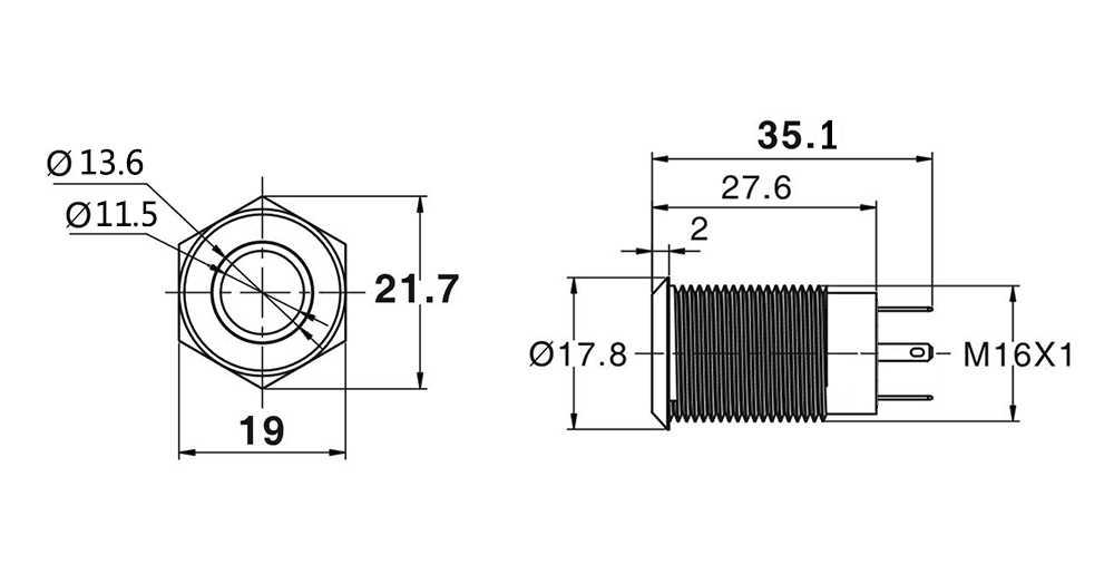 Interruptor de botón de metal a prueba de agua de 16mm luz LED Fijación de enganche momentáneo coche motor de arranque PC potencia rojo azul 5V 12V 3-380V