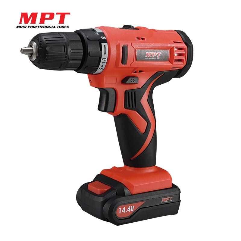 MPT 14.4V Li-ion Cordless Drill 1300mAh Battery W/ Charger 0.8-10mm Chuck Size Power Tool cordless drill 1300mah li ion battery