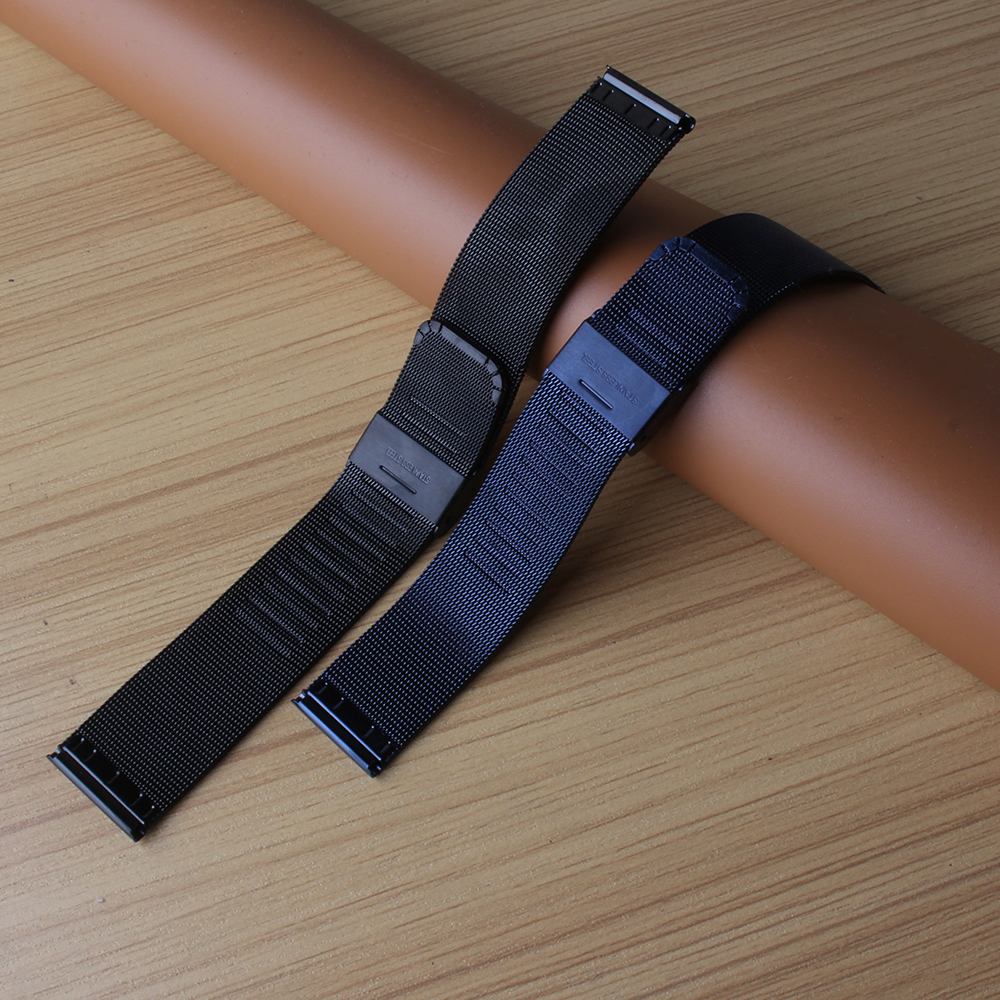 High quality Watchband Dark Blue new arrival Watch Strap Bracelet folding buckle mesh watches quartz accessories 20mm 22mm 24mm цена
