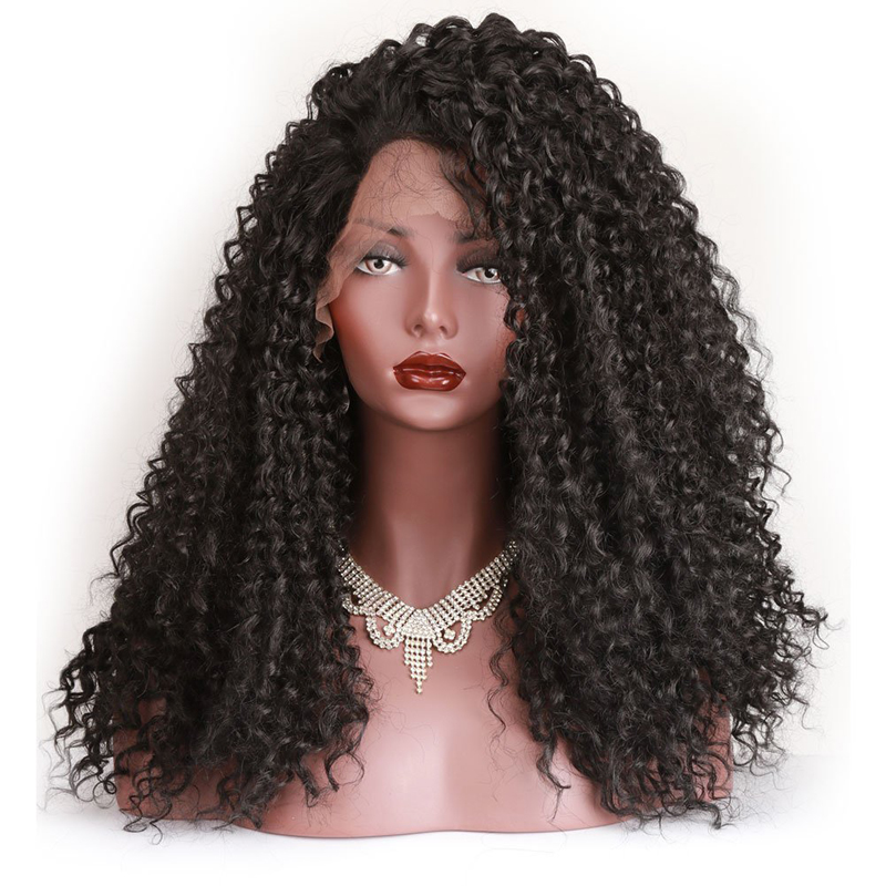 EEWIGS Kinky Curly Lace Front Wigs Synthetic For Women Black High Temperature Glueless Natural African American Fiber Hair Wigs