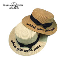 BINGYUANHAOXUAN 2018 Bone Sun Hat For Women Panama Cape Embroidered Which You Have Been Here Straw Bow Beach Female Summer