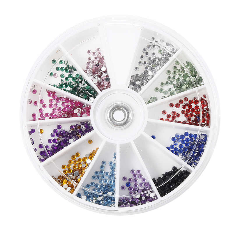 2mm/1.5mm Round Shape Acrylic Crystal Glitter Rhinestones for 3D Nail Art 12 Colors Decoration 2400 Pcs Shinning