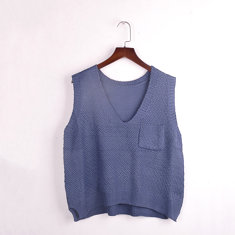 Loose Knitted V neck Vest Women Pocket Side Split Pullover Colete Autumn Spring Harajuku Kawaii Jacket Coats