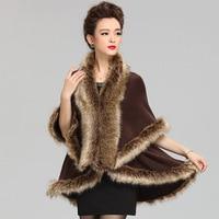 2018 New Fashion Cashmere Imitation Fox Fur Coat Cardigan Women Poncho Knitted Sweater Lady Scarves women Tops Winter shawl