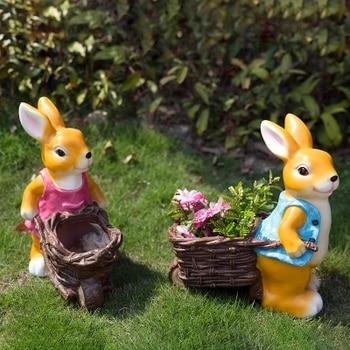 Courtyard garden flower cylinder decoration resin creative cartoon children cartoon rabbit sculpture crafts outdoor decoration