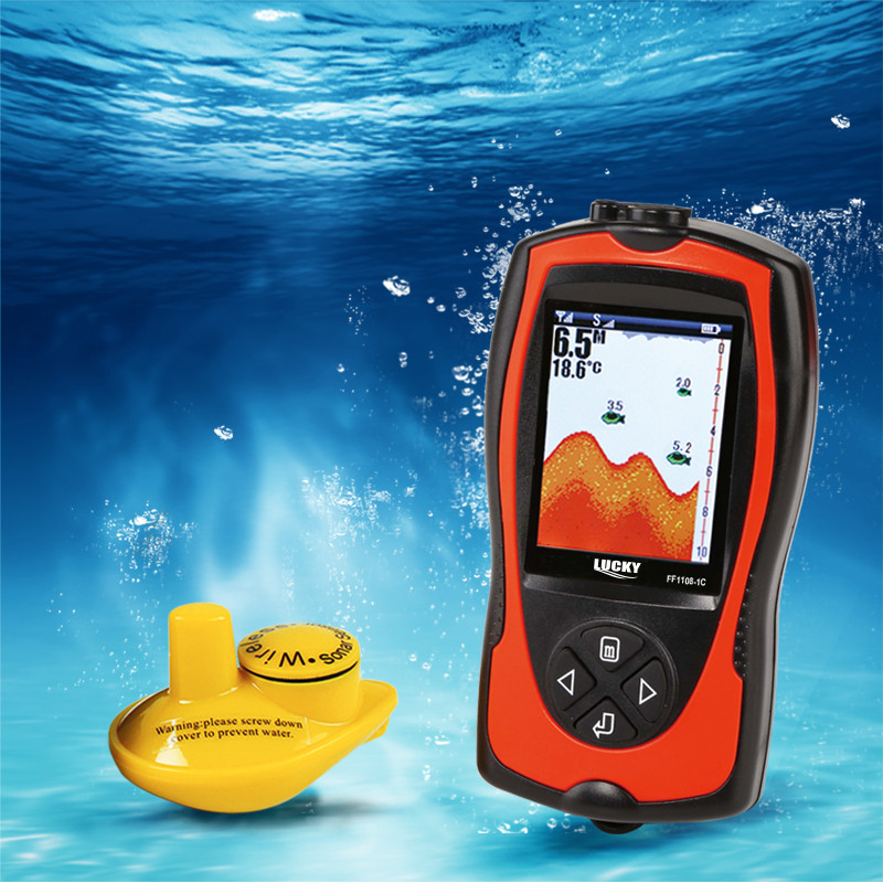 Lucky FF1108-1CW Colorful Wireless Fish Finder 147ft 45m Water Depth English Russian Menu Sounder Sonar Fishfinder Fishing Sonar lucky ff718li w portable fish finder wireless sonar fishfinder 45m fish depth alarm echo sounder