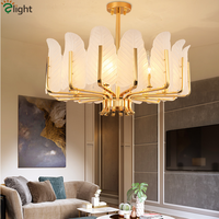 Lustre Plate Gold Metal E14 Led Pendant Lights Glass Leaf Hanging Lamp Dining Room Luminaria Indoor Lighting Fixtures Lamparas