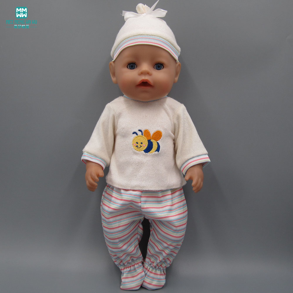 Baby Born Doll Clothes dress Fit 43cm Zapf Baby Born Doll Baby Cartoon clothes + trousers + hat Children Birthday Gifts baby born doll clothes for 43cm zapf doll accessories japan fashion print dress outfit children birthday gift 055
