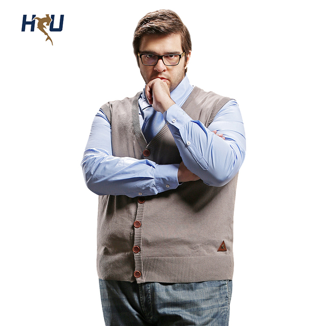 H United Plus Size Sweater Vest:Mens Big V Neck 100% Cotton ...