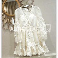 GoodliShowsi High End Custom Spring Summer Silk Organza Hollow Out Embroidery White V Neck Dress